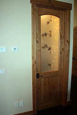 Rustic Interior Door With Etched Glass