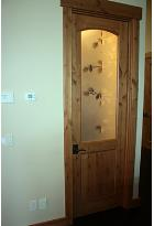 Rustic Interior Door with Etched Glass